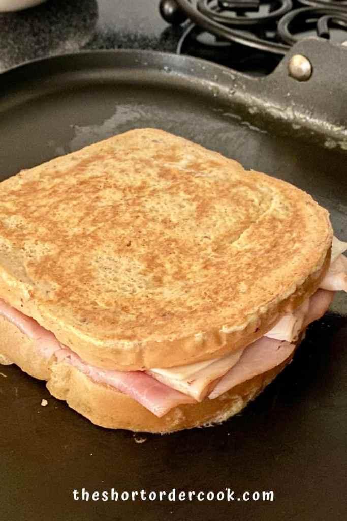 Keto Monte Cristo Sandwich on the flat griddle