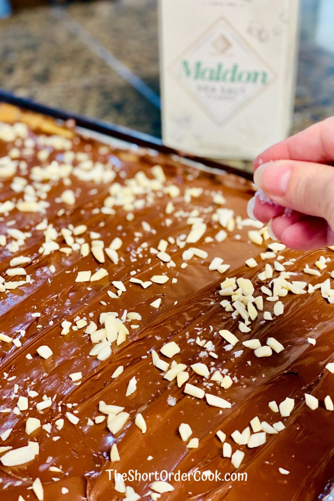 Old-fashioned Classic Toffee topped with almonds and sea salt