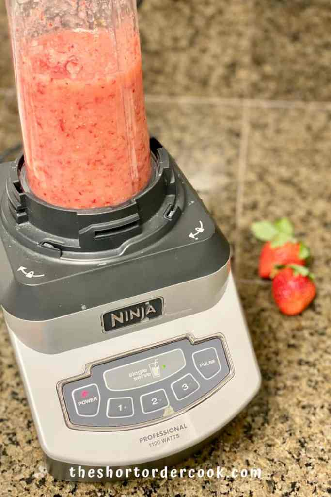 Fresh Strawberry Mousse Parfaits puree strawberries and sugar in the ninja blender