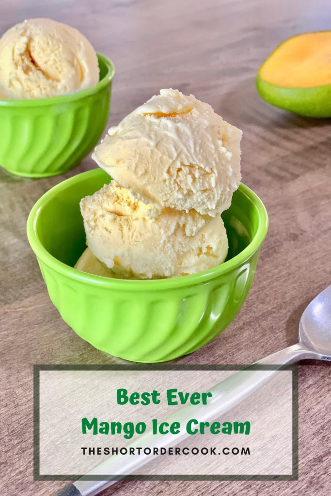 Best Ever Mango Ice Cream two bowls ready to eat and a spoon