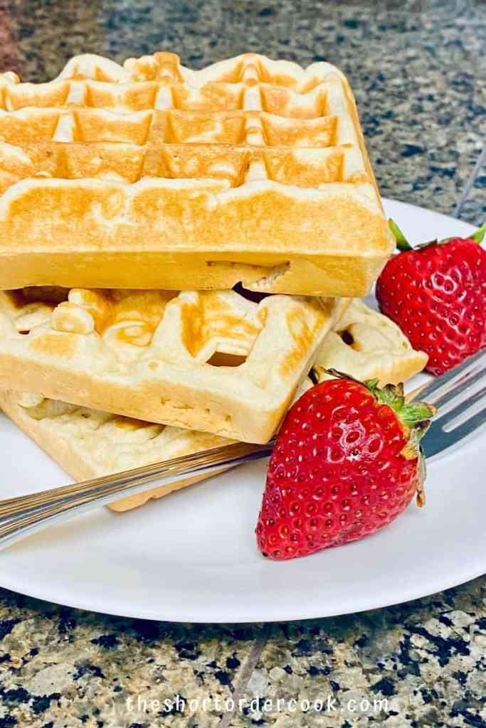 Perfectly Crispy and Chewy Mochi Waffles stack on a plate