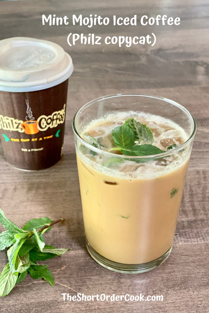 Mint Mojito Iced Coffee (Philz copycat) glass and cup of coffee on table PN1