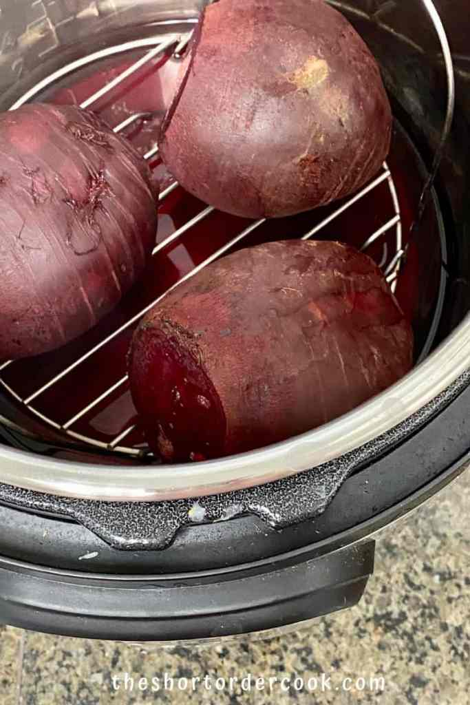 Instant Pot Steamed Whole Beets steamed and ready to peel
