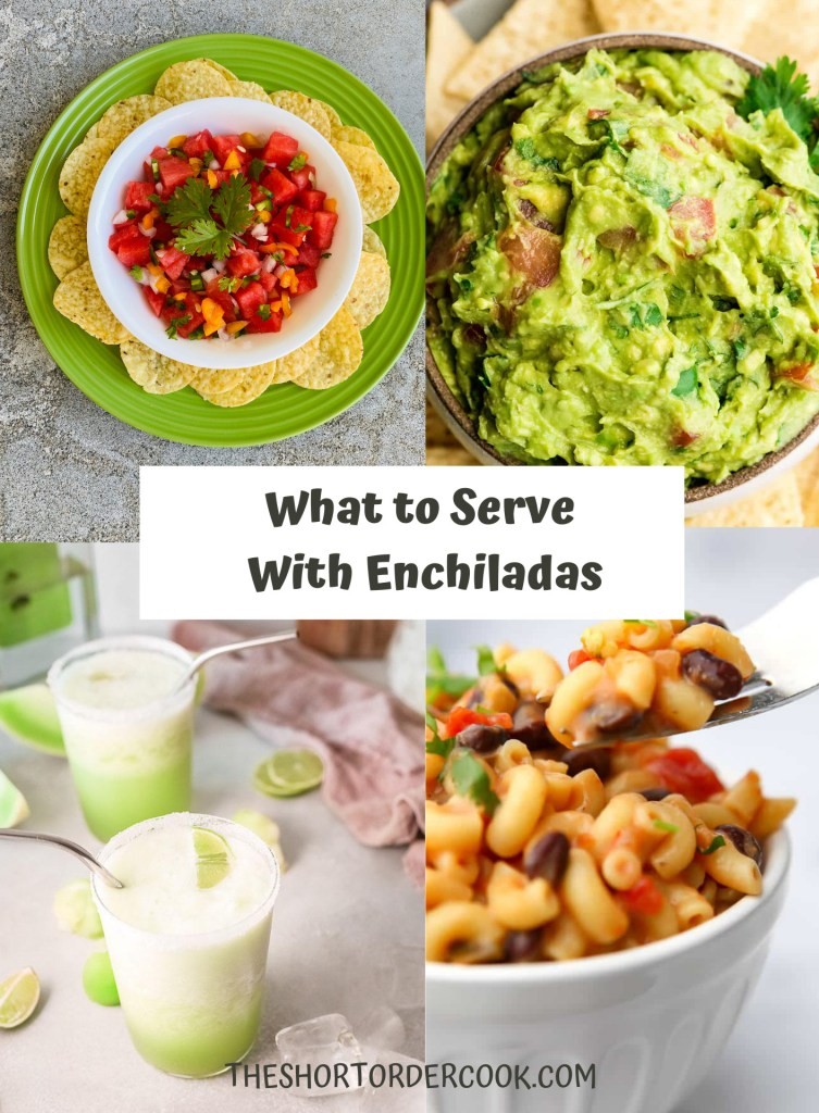 What to Serve With Enchiladas PN1 4 recipe images for guacamole, watermelon salsa, honeydew margarita and mexican vegan mac & cheese