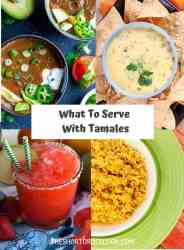What to Serve with Tamales PN1 4 recipe images of black bean soup, queso and chips, strawberry margarita and mexican rice