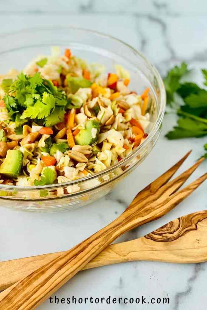 Asian Avocado Peanut Coleslaw ready to serve