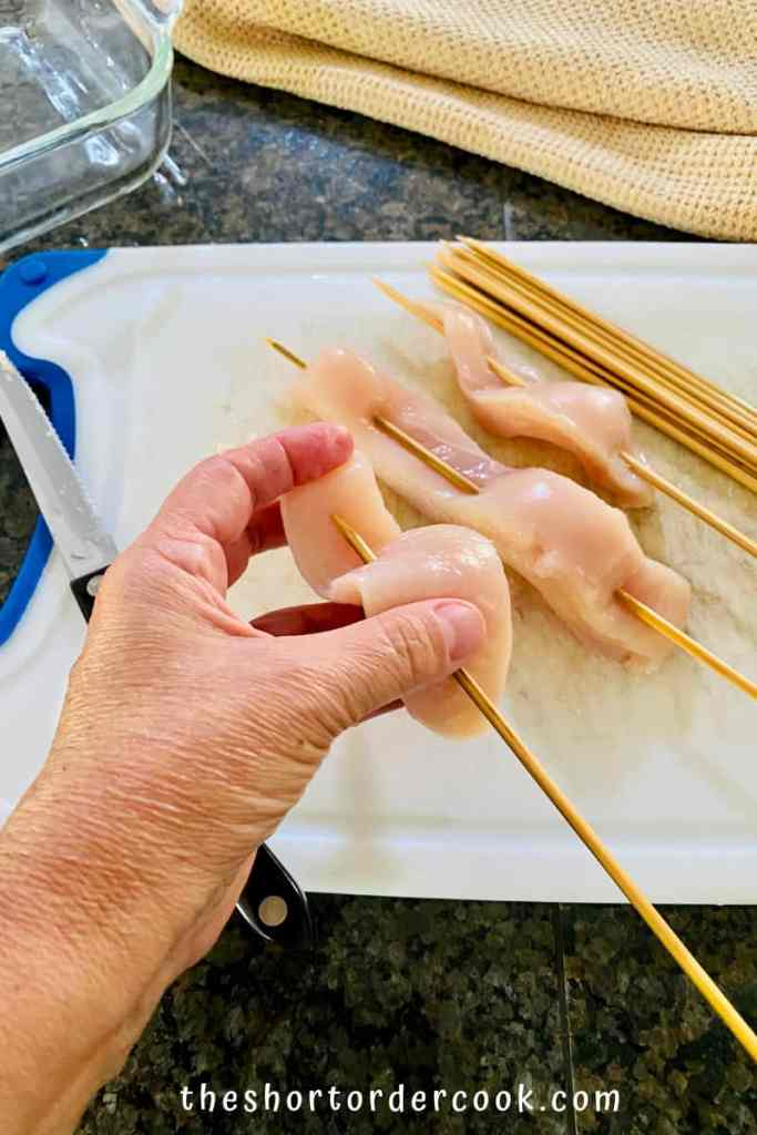 Teriyaki Chicken on a Stick slice and skewer the thin chicken breasts