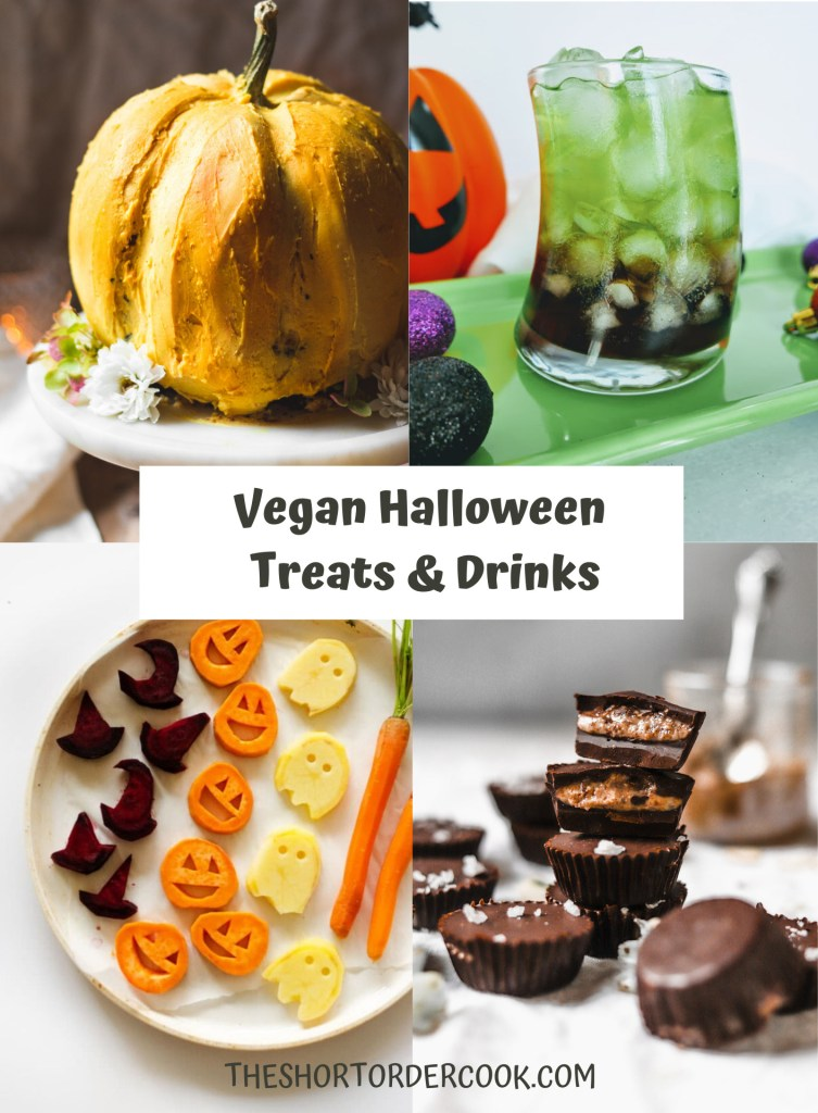 Vegan Halloween Treats & Drinks PN1 4 images for vegan pumpkin shaped cake, almond butter cups, a green and black cocktail and roasted veggies cut out like halloween shapes