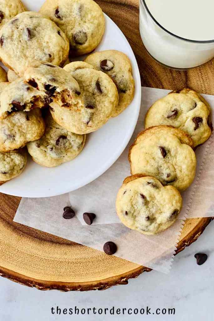 Chocolate Chip Cookies without Brown Sugar ready to eat overhead a plate stacked with cookies and 3 fanned to the side