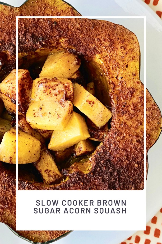 Slow Cooker Brown Sugar Acorn Squash PINREDO overhead close up shot looking into the cut acorn squash filled with apples