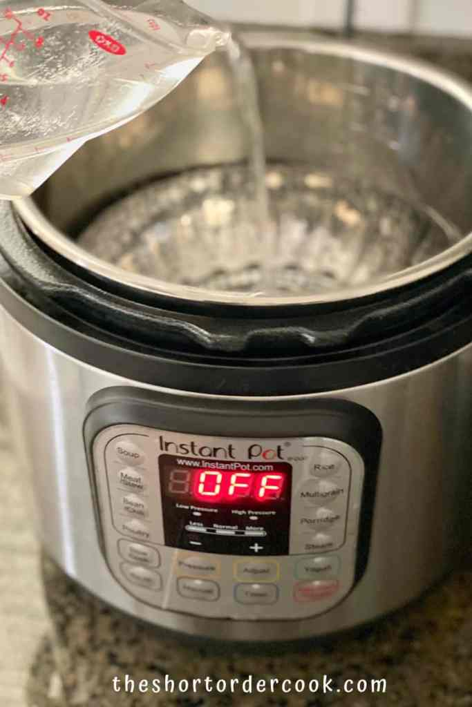 Instant Pot Cubed Sweet Potatoes add steamer basket and water to the insert