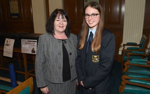 New Youth MP Jessica Henderson with Council leader Councillor Kate Hollern