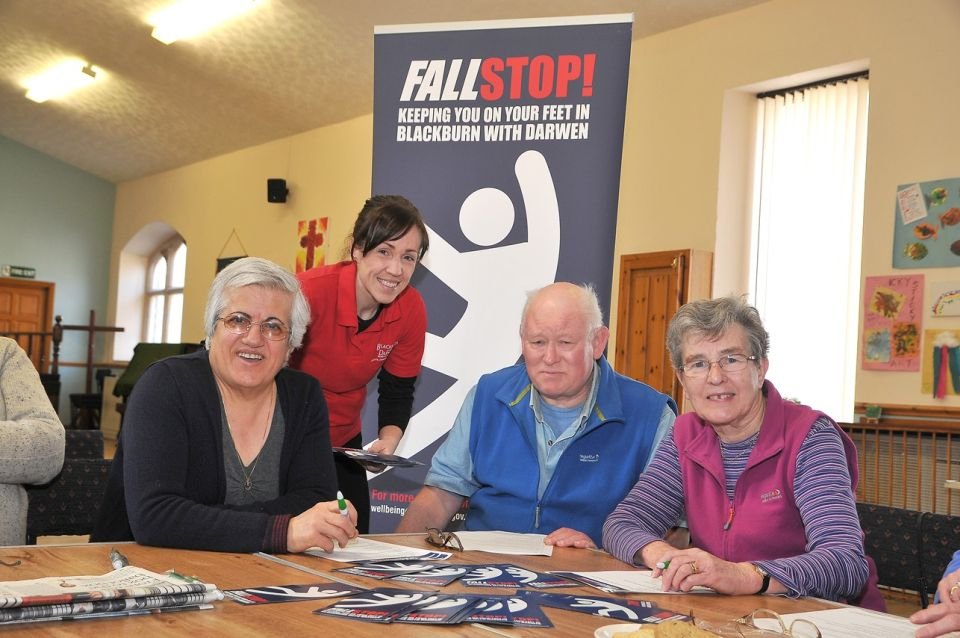 FallStop campaign goes on the road. Visting Spring Vale Methodist Church, Watery Lane, Darwen. (l-r) Karimeh Foster, Amy Greenhalgh of FallStop, Graham Rothwell and Jenny Atkinson