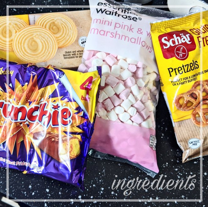 the ingredients for delicious gluten free rocky road recipe