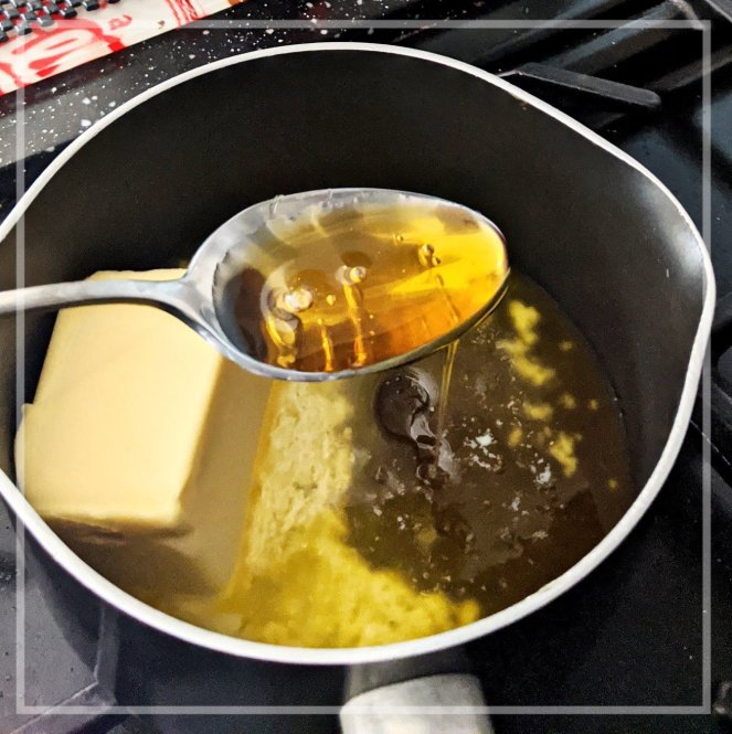 recipe melting butter and golden syrup in a saucepan
