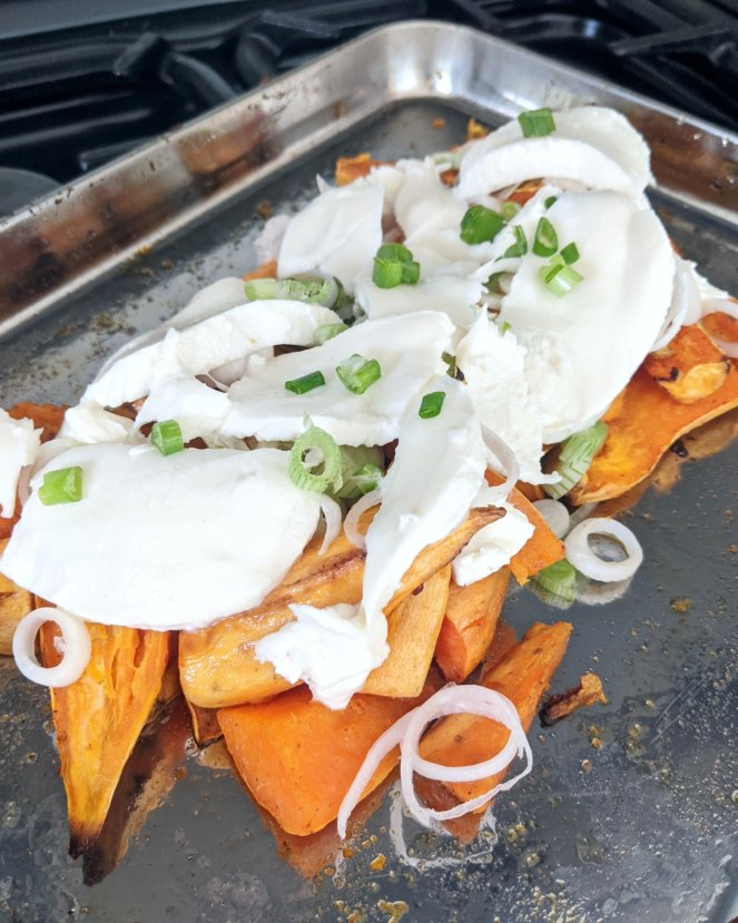 sickly mama blog sweet potato nachos oven ready mozzarella spring onion