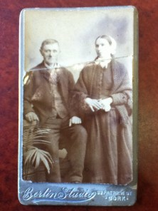 Likely, Patrick Foley and Ellen Donovan, my twice great-grandparents. Taken at Berlin Studio on 33 Patrick St., Cork.