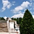 Stairs to the terrace & balcony of the Mount. Edith Wharton Estate & Gardens.  Lenox, MA