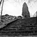 The tree, the cross, the bath tub and stairs. Center Street cemetery. Centralia, Pennsylvania