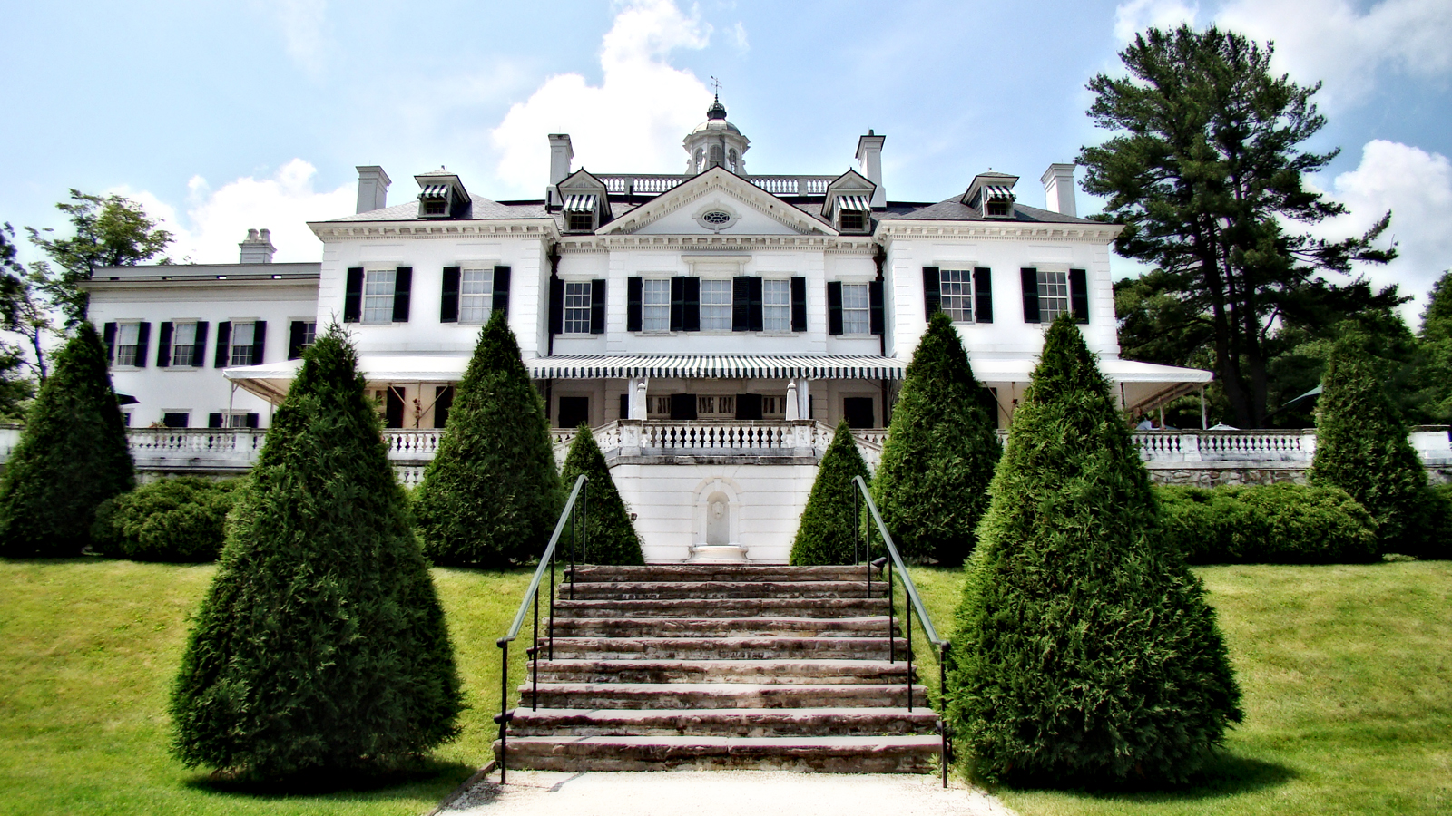 A front view of the Mount from the Gardens' footpath. Edith Wharton Estate & Gardens. Lenox, MA