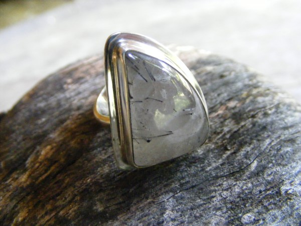 Free-Form Tourmalinated Quartz Ring