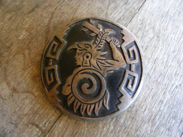 Aztec Warrior Pendant – Vintage Mexican