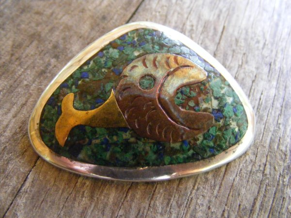 Mixed Metal Fish Pendant – Vintage Mexican