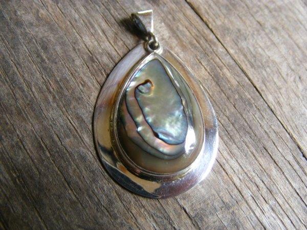 Rimmed Abalone Teardrop Pendant
