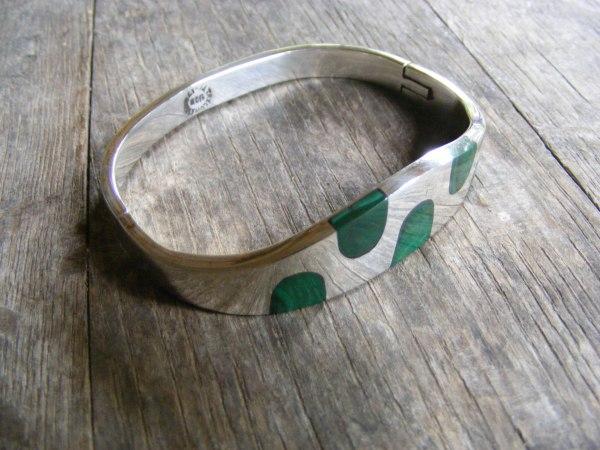 Malachite Hinge Bracelet – Vintage Mexican