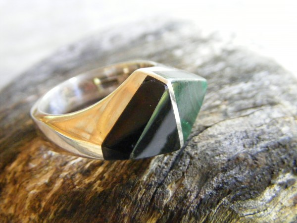 Malachite and Onyx Ring – Vintage Mexican