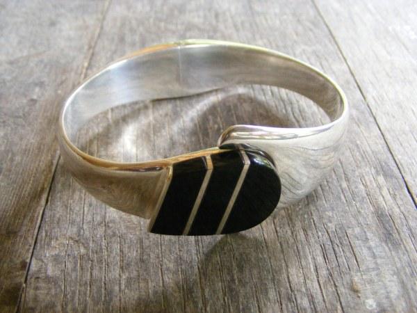 Onyx Clamper Bracelet – Vintage Mexican