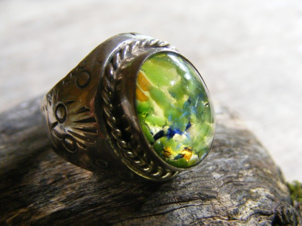 Dichroic Glass Oval Ring – Vintage Mexican