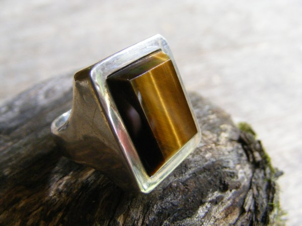 Tiger Eye Rectangle Ring – Vintage Mexican