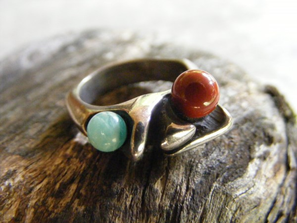 Jasper and Aventurine Bead Ring