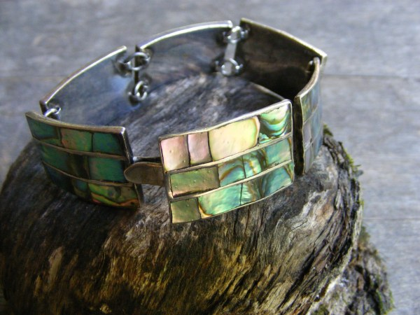 Double Link Abalone Bracelet – Vintage Mexican