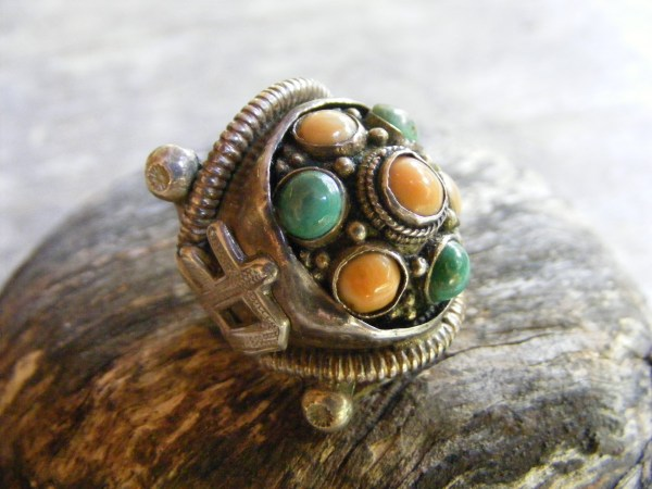 Chinese Coral and Jade Ring