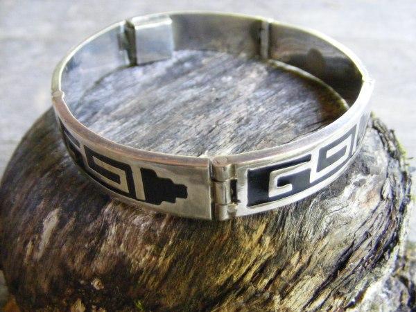 Hinged Aztec Motif Bracelet – Vintage Mexican