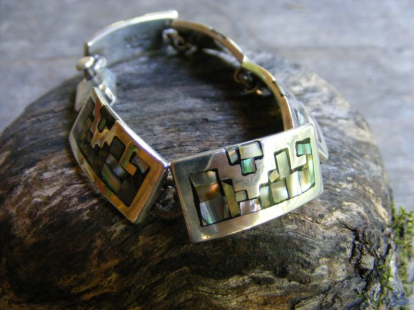 Mosaic Abalone Link Bracelet – Vintage Mexican