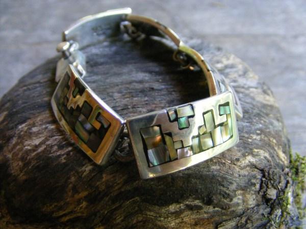 Mosaic Abalone Link Bracelet – Vintage Mexican