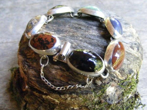 Multi-Stone Single Link Bracelet – Vintage Mexican