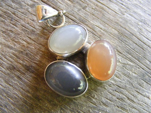 Three Moonstone Pendant
