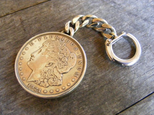 Silver Dollar with Back Key Ring