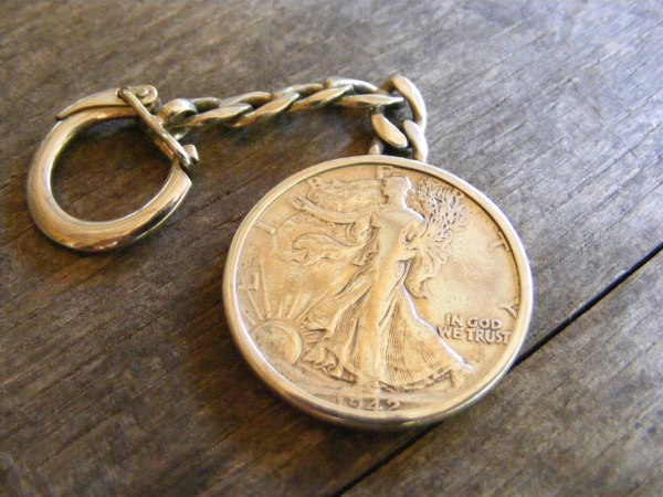 Walking Liberty Key Ring with Back 2