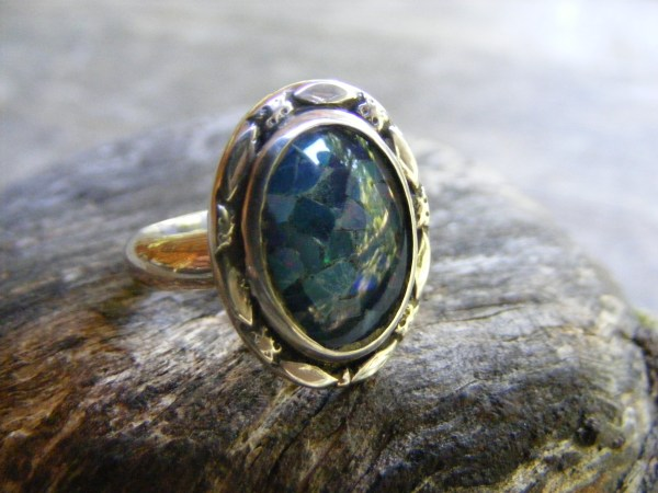 Black Opal Mosaic Ring