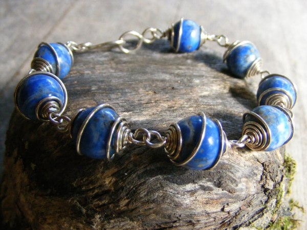 Denim Lapis Spiral Bracelet