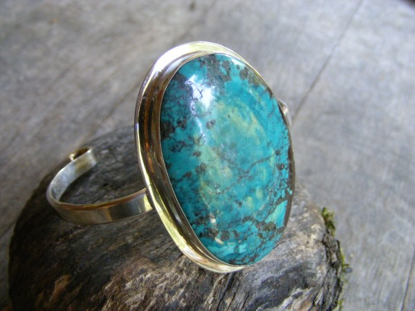 Cuff Bracelet with Large Turquoise