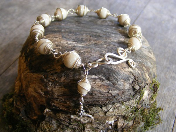 Ivory Stone Spiral Bracelet