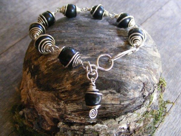 Obsidian Spiral Bracelet