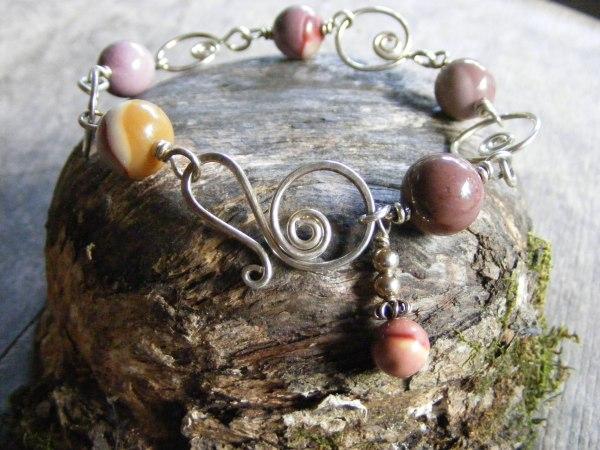 Rainbow Obsidian And Spirals Bracelet