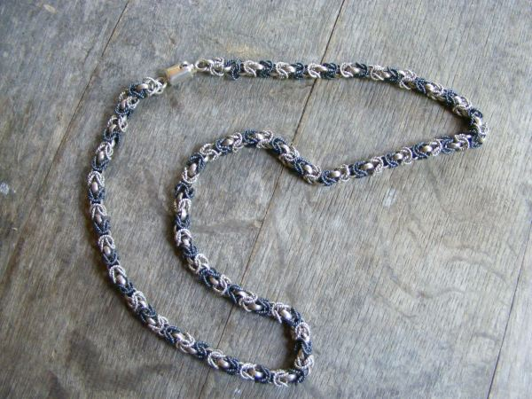 Byzantine Black and Silver Chainmaille Necklace – Vintage Mexican